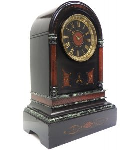 Wow! Amazing French Slate & Marble Mantel Clock 8 Day Striking Mantle Clock