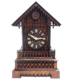 Rare Gallery Cuckoo Mantel Clock – German Black Forest Carved Bracket Clock