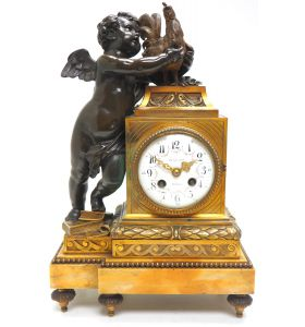 Antique Ormolu Bronze Mantel Clock Cherub & Roaster Solid Bronze Striking 8-Day Mantle Clock By Ch Gautier
