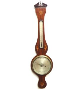 Good Mahogany Shell Inlay Banjo Wheel Barometer Thermometer by Huntley London