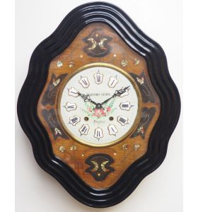 Rare Antique French Inlaid Dial Wall Clock 8 Day Movement Dial Vineyard Design