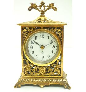 Superb America Ansonia 8 Day Carriage Clock Fret Work Case Circa 1900 Working