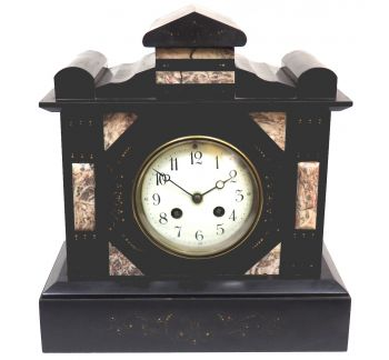 Antique French Slate Mantel Clock 8-Day Striking Mantle Clock C1900