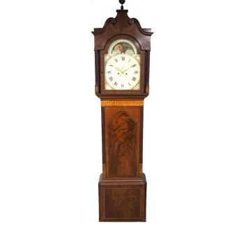 19THC English Longcase Clock in Mahogany Painted Moon Roller Dial 8-Day Signed Martin Clayton