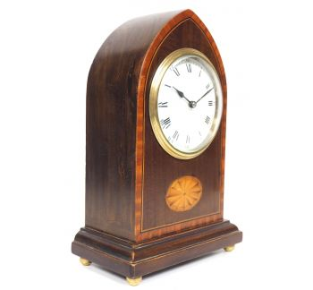 Impressive Solid Mahogany Lancet Cased Timepiece Clock with Satinwood Inlaid Decoration
