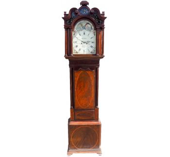 19THC English Longcase Clock in Mahogany Painted Moon Roller Dial 8-Day Signed Sam Collier Eccles
